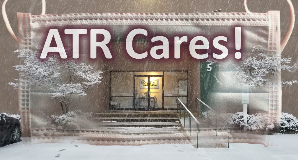 Image showing ATR office in Richmond in snow storm with medical mask superimposed within to look safe, also shows A T R Cares