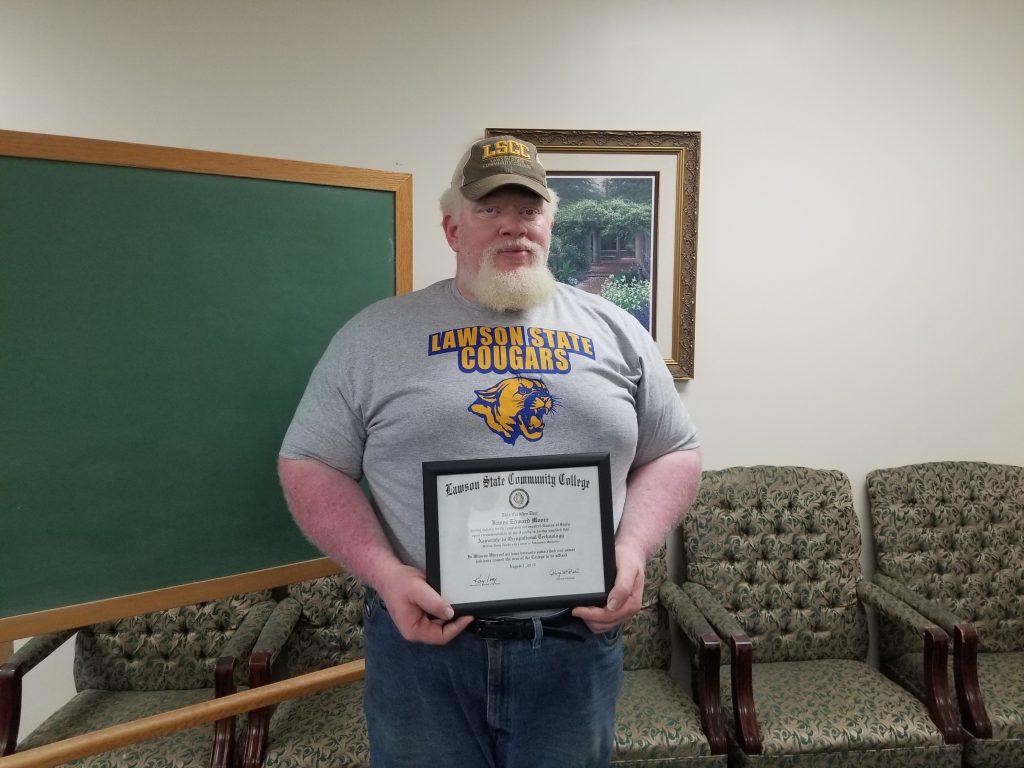 ATR congratulates James Moore on receiving his Associates Degree