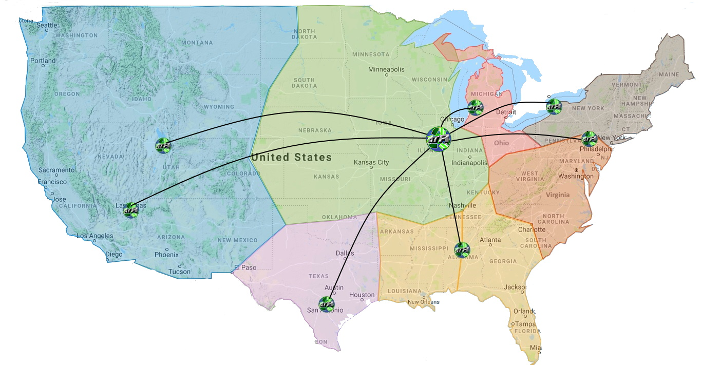 2021 ATR Facility Map of United States.  This map shows ATR logo placement on the corresponding cities we maintain facilities within.